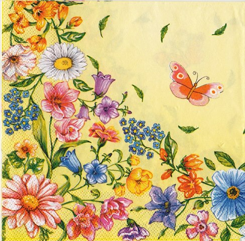 Servetele Decorative de Masa Florale Tehnica Decoupage Flori Multicolore de Camp Crem