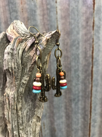 Multi Stone Cactus Earrings