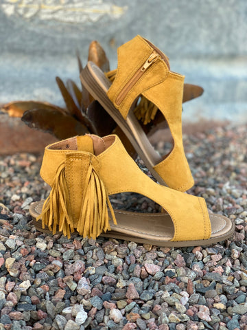 The Mia Mustard Fringe Sandals