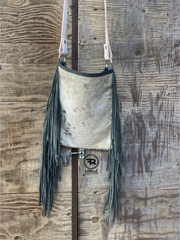 Cross Body Boho Western Laredo Cowhide Leather Fringe Handbag Purse