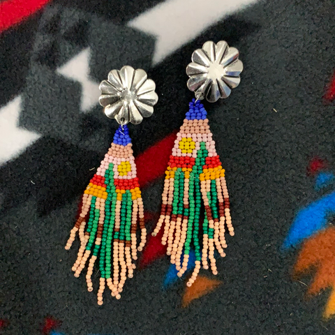 Cactus bead seed fringe earrings
