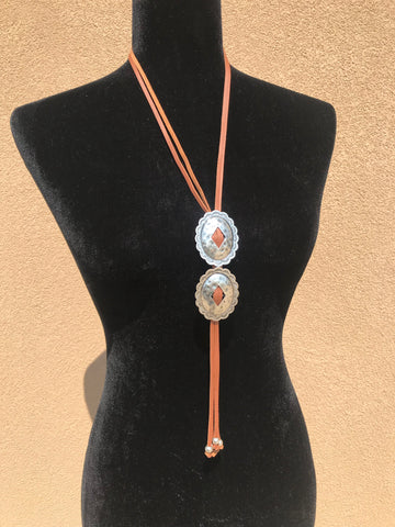 Brown Double Concho Bolo Necklace