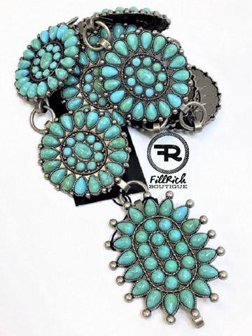 The Tiva Turquoise Concho Belt
