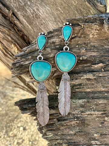 The Turquoise Feather Earrings