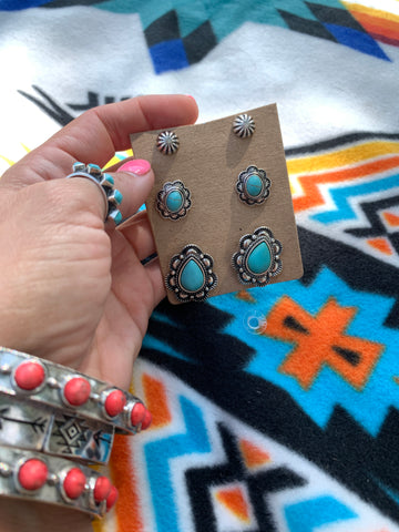 The Tegan Turquoise Earring Set