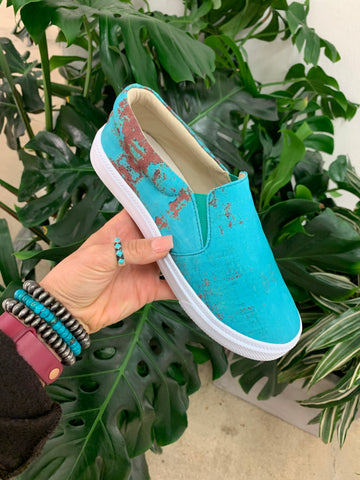 The Rusted Turquoise Slip-On's