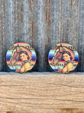Hey Cowgirl Car Coasters