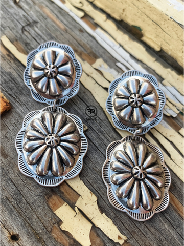 Silver studded concho post earrings