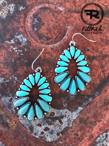 The Turquoise Clustered Teardrop Earrings