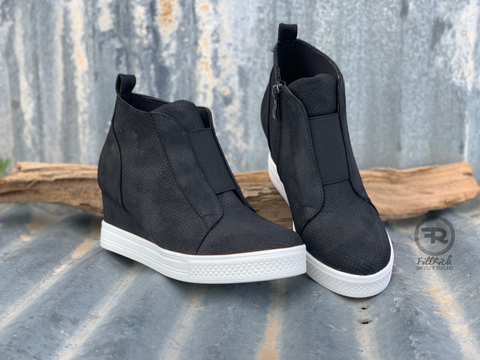 Zoey Wedge Sneaker {Black}