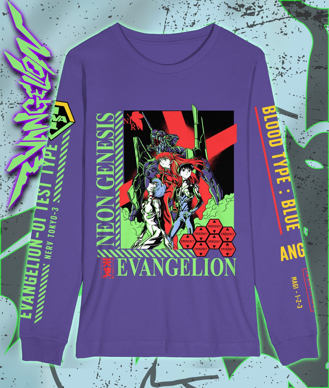 EVANGELION Purple Long Sleeve Shirt