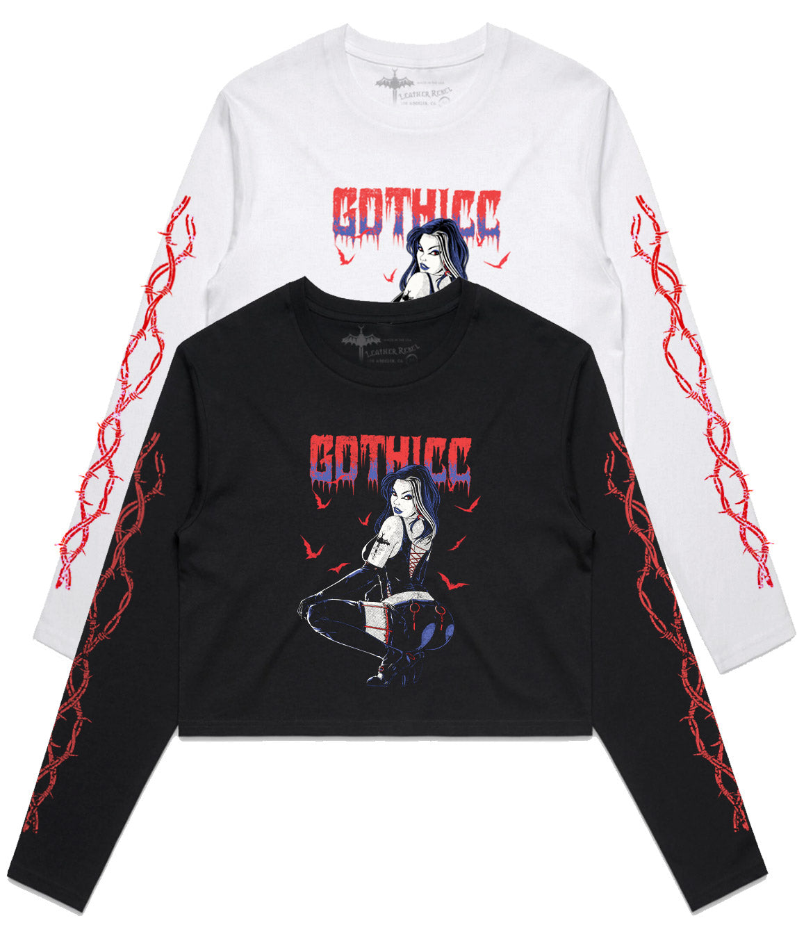 'GOTHICC' Long Sleeve Crop Top