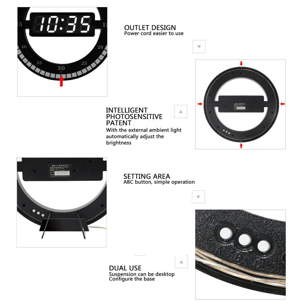 Creative Digital LED Display Hanging Black Circle Automatically Adjust Brightness Table Clock