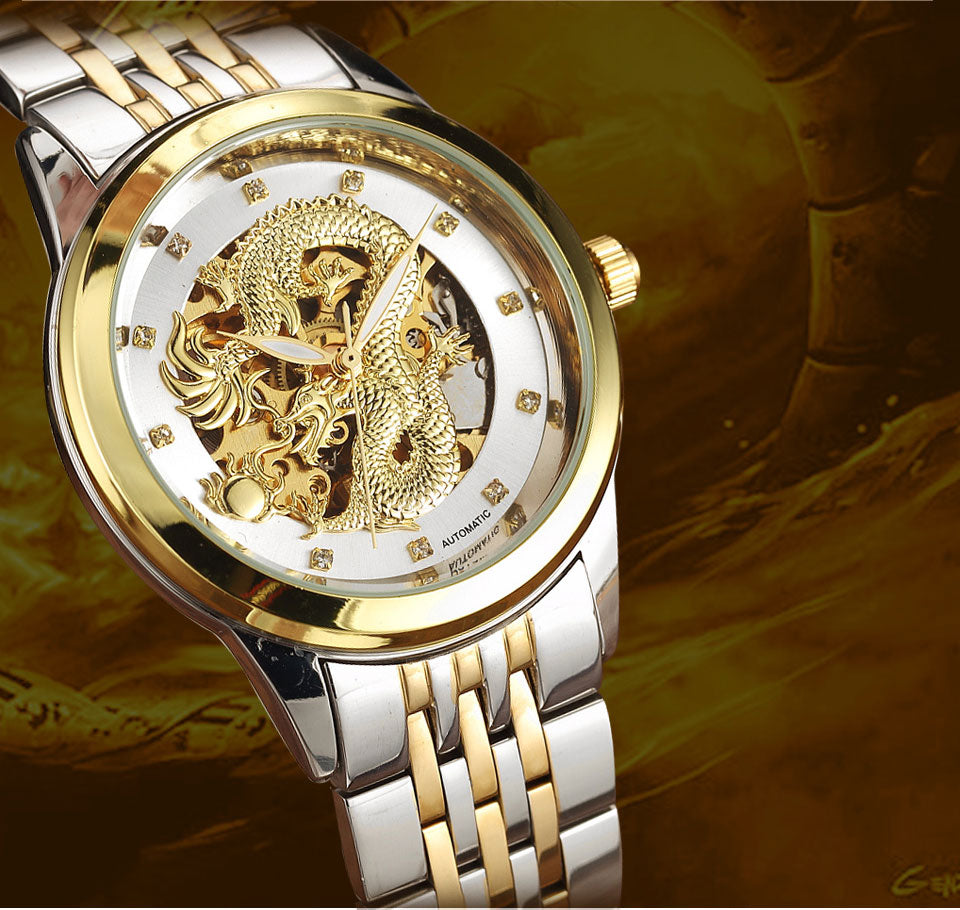 Automatic 3D Carved Dragon Steel Gold Skeleton Mechanical Watch For Men
