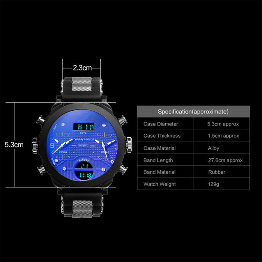 New Big Quartz Black LED Digital Sport Wrist Watch For Men