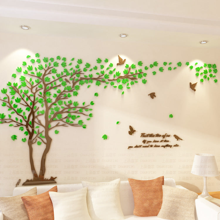 Lovers Tree Crystal Three Dimensional Wall Stickers Living Room Decoration  ...