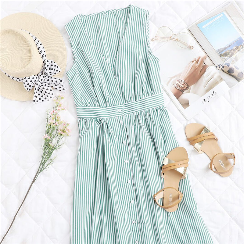 green vintage sleeveless dress for summer