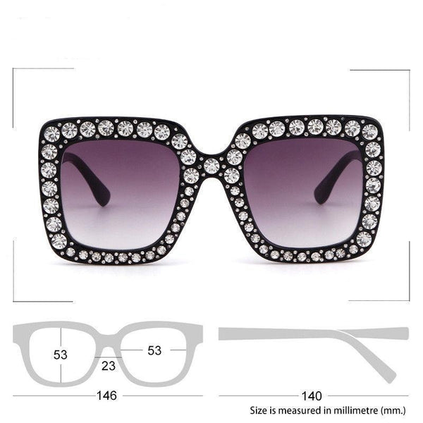 Large Square Frame Bling Rhinestone Sunglasses Women Fashion