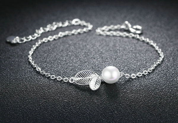 Pearl Charm Bracelet For Women With Sterling Silver Leaves - Teme Store