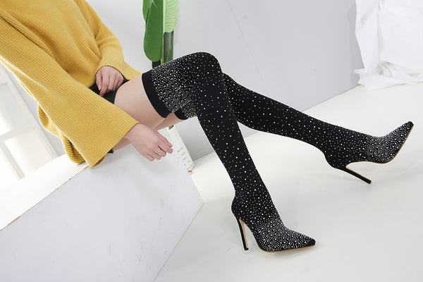 Over Knee High Heel Pointed Toe Crystal Bling Socks Boots