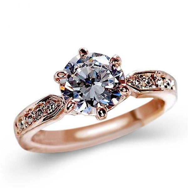 Zircon Engagement Ring for Women Rose gold color Wedding ring - Teme Store