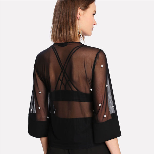 New Pearl Embellished Round Neck Sheer Women Blouse 2018 - Teme Store