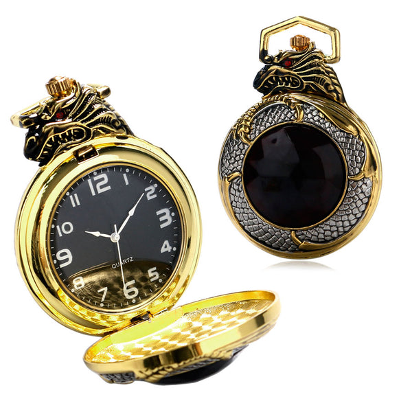 Evil Dragon Vintage Gold Pocket Pocket Watch With Big Red Crystal Garnet Inset - Teme Store