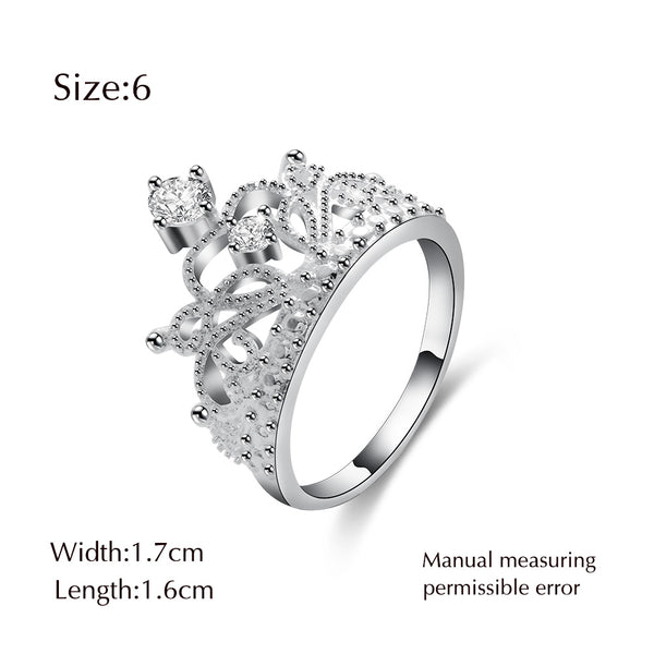 Hot My Princess Queen Crown Crystal Silver Cubic Zircon Ring - Teme Store