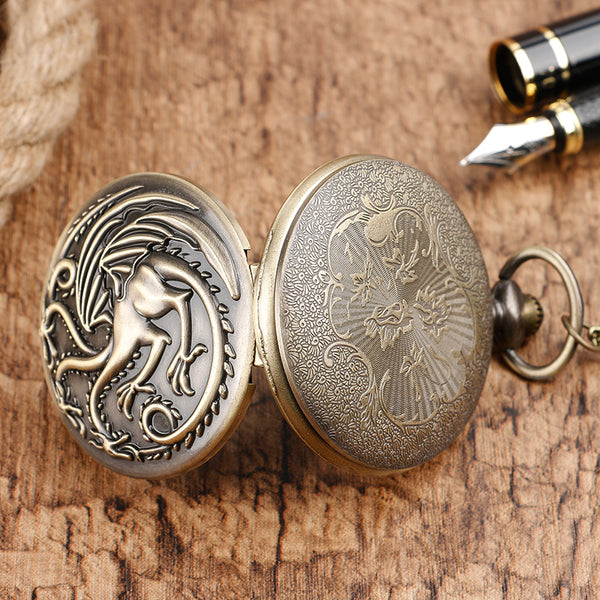 Awesome Dragon Fire Quartz Pocket Watch - Teme Store