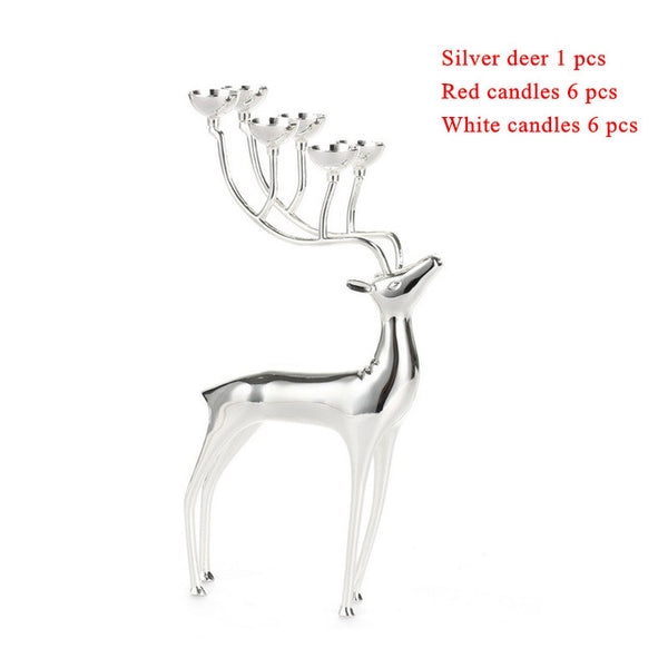 Stainless Steel  Luxurious Deer Candle Holders Home Decoration With Free Candles - Teme Store