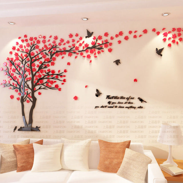 Crystal 3D Modern Tree Wall Art Stickers For Living Room Decoration
