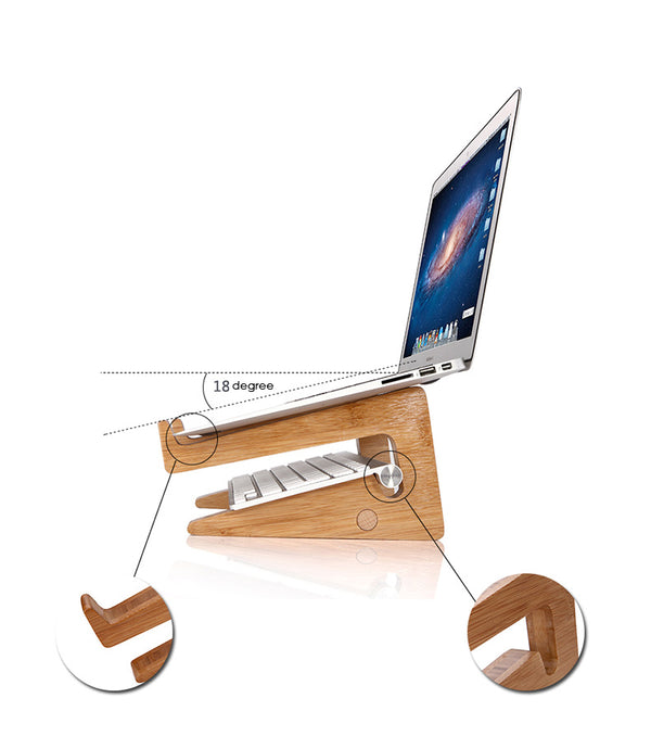 Detachable Wooden Desktop Stand for Tablets iPad Mac-book Air or Pro - Teme Store