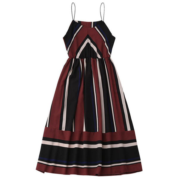 Casual Striped Women Sexy Sleeveless Spaghetti Strap Midi A Line Summer Dress 2018 - Teme Store