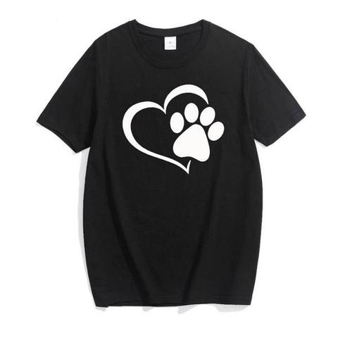 Love cat paws printed cotton summer t-shirt for women