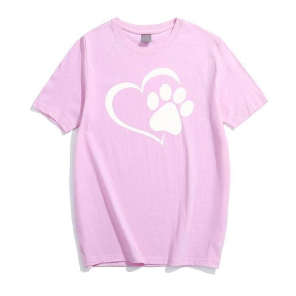 Love cat paws printed cotton summer t-shirt for women - Teme Store