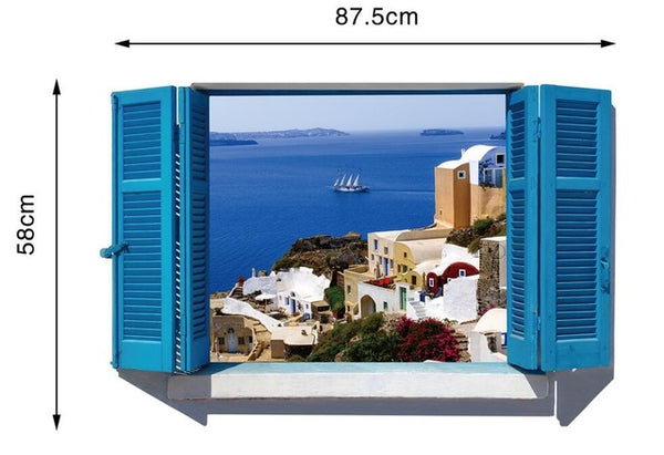 3D Removable Beach Window Wall Stickers - Teme Store