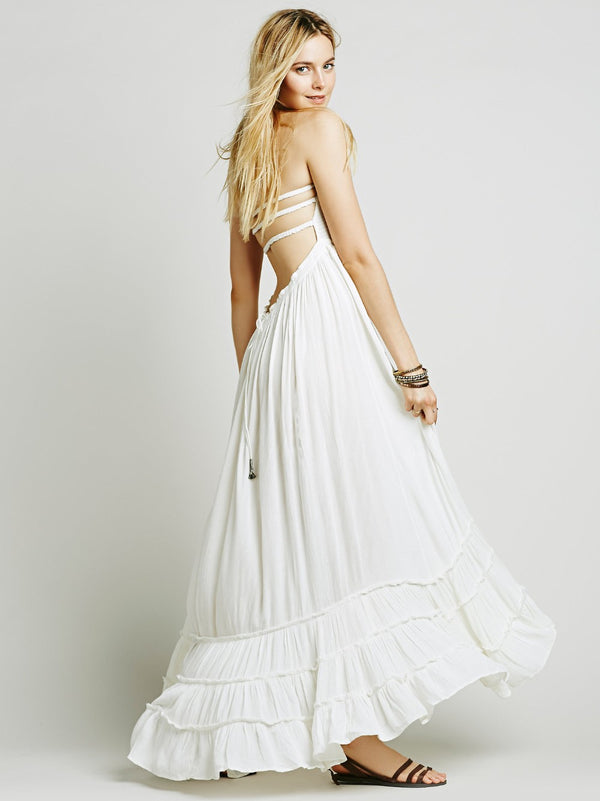 Chiffon Backless Split Beach Dress