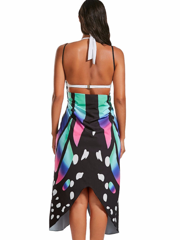 Sexy Backless Butterfly Print Dress - Teme Store