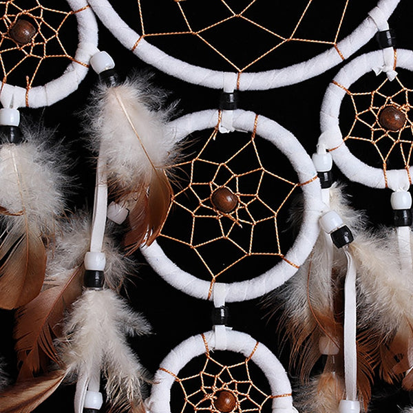 Hand-Woven Dream Catcher With White Feathers For Home Decoration - Teme Store