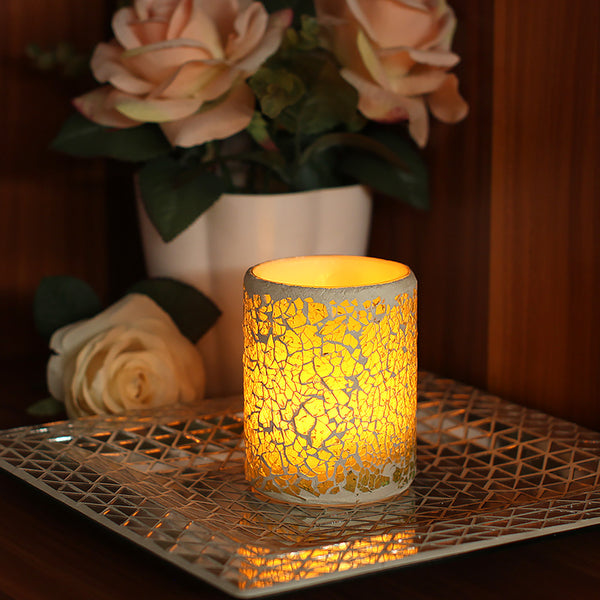 Electronic Mosaic Glass Flameless LED Wax Candle Light Lamp - Teme Store
