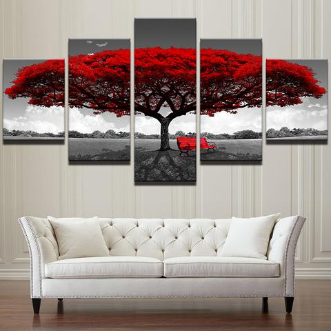 Modern 5 Pieces Red Tree Wall Painting