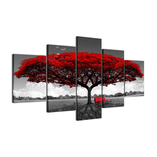 Modern 5 Pieces Red Tree Art Scenery Landscape Painting Wall Decor - Teme Store