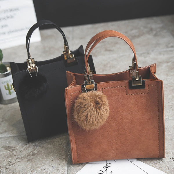 NEW HOT Casual Tote Leather Handbag With Fur Ball