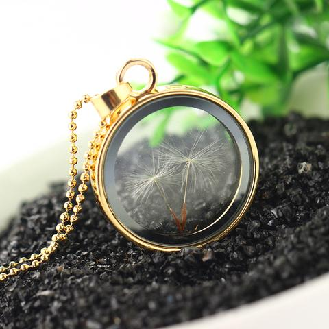 Round Shaped Vintage glass pendant with Dandelion Flower