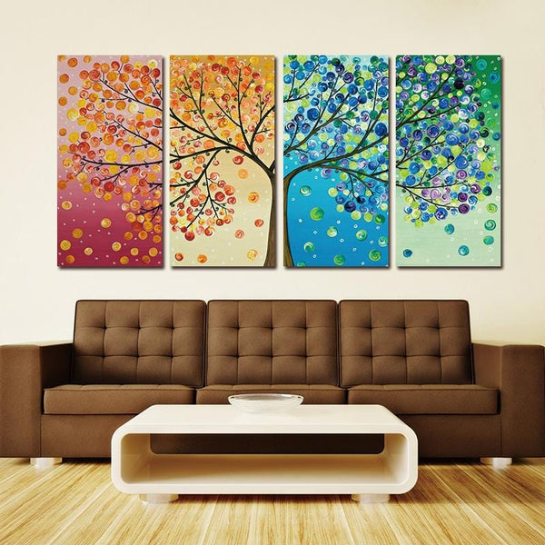 Colourful Leaf Trees 4 Piece Painting Wall Art for Home Decor - Teme Store
