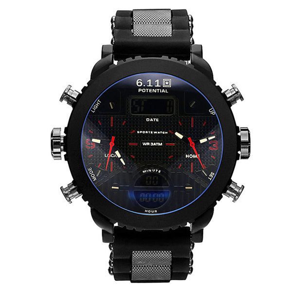 New Big Quartz Black LED Digital Sport Wrist Watch For Men - Teme Store