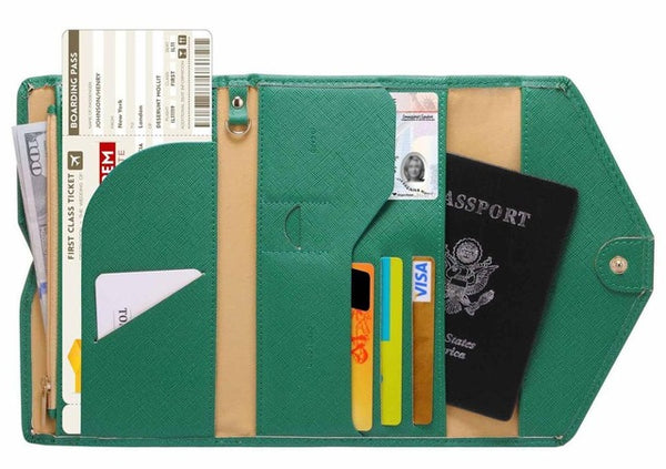 Anti magnetic Multi card holder documents organizer travel wallet - Teme Store