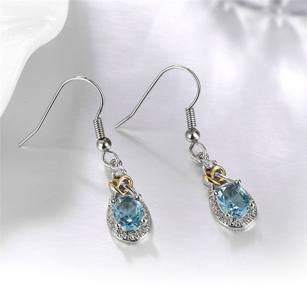 Sterling Silver Blue Topaz Drop Earrings For Women With Oval Gemstone - Teme Store
