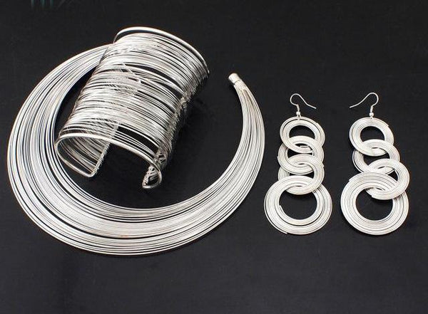 Metal Wire Torques Chokers Necklaces Bangle Earrings Set
