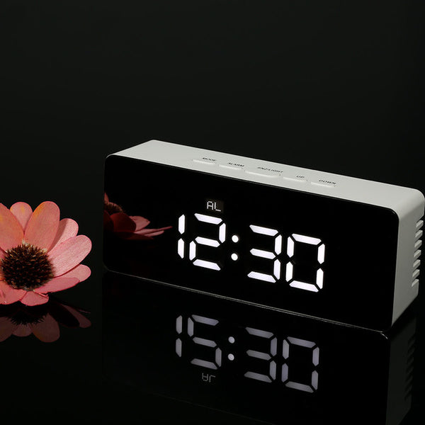 Digital LED Table Alarm Clock and Snooze Function Mirror Clock Indoor Thermometer - Teme Store